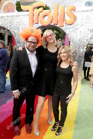 """Composer Christophe Beck, Music Supervisor Julianne Jordan, and Music Supervisor Julia Michels seen at DreamWorks Animation and Twentieth Century Fox Present the Los Angeles Premiere of """"Trolls"""" at Regency Village Theatre, in Los Angeles"""
