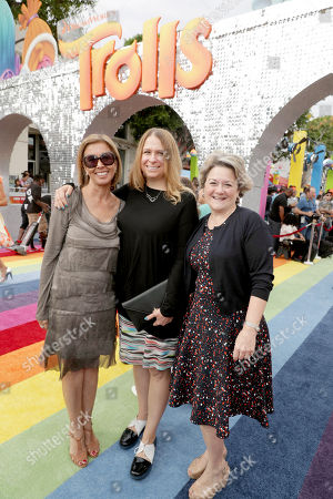 "Mireille Soria, Co-President of Feature Animation at DreamWorks Animation, Producer Gina Shay and Bonnie Arnold, Co-President of Feature Animation at DreamWorks Animation, seen at DreamWorks Animation and Twentieth Century Fox Present the Los Angeles Premiere of ""Trolls"" at Regency Village Theatre, in Los Angeles"