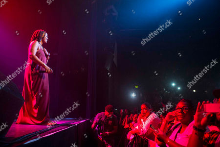 Natalie Stewart with Floetry performs during the Floetry Reunion Tour at Center Stage, in Atlanta