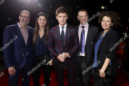 Jimmy Horowitz, President of Universal Pictures, Executive Producer Liza Chasin, Eddie Redmayne, Peter Schlessel, Chief Executive Officer, Focus Features, and Donna Langley, Chairman of Universal Pictures, seen at Focus Features Los Angeles premiere of 'The Danish Girl' at Regency Village Theatre, in Los Angeles, CA