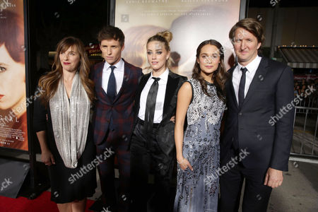 Stock Image of Writer Lucinda Coxon, Eddie Redmayne, Amber Heard, Alicia Vikander and Director Tom Hooper seen at Focus Features Los Angeles premiere of 'The Danish Girl' at Regency Village Theatre, in Los Angeles, CA