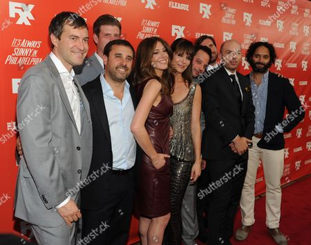 From left, Mark Duplass, Stephen Rannazzisi, Jeff Schaffer, Jackie Marcus Schaffer, Kaite Aselton, Nick Kroll, Jon Lajoie, Paul Scheer and Jason Mantzoukas arrive at the launch party for the new FXX Network, on at Lure in Hollywood, Calif