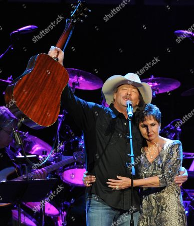 Alan Jackson with Nancy Jones, widow of the late George Jones, at the George Jones Tribute - Playin' Possum: The Final No Show, on at the Bridgestone Arena in Nashville, Tenn