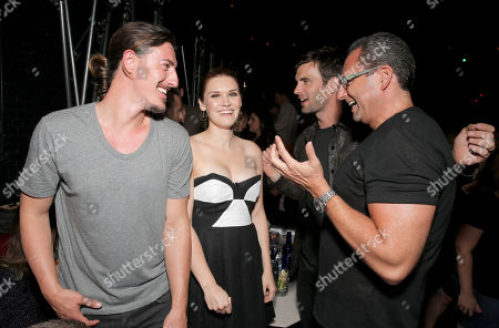 "Eric Balfour, Emily Rose, Lucas Bryant and CEO Entertainment One Television John Morayniss attends the Entertainment One ""Haven"" Party at Comic Con on in San Diego"