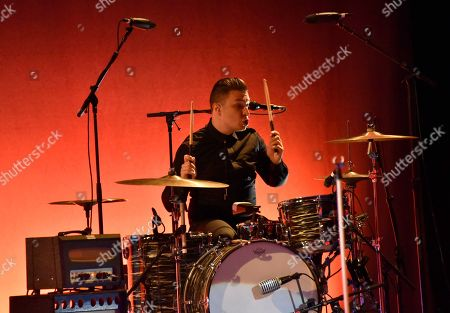 Matt Helders performs with Iggy Pop during the Post Pop Depression Tour at The Filmore, in Miami Beach, Fla