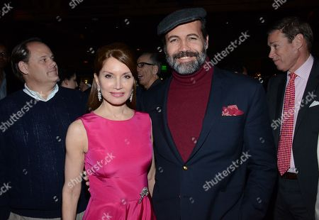 "Jean Shafiroff and Billy Zane pose at private LA dinner for ""Song One"" screening hosted by Jean Shafiroff with director Kate Barker-Froyland and Anne Hathaway at The Palm Restaurant, in Beverly Hills, California"