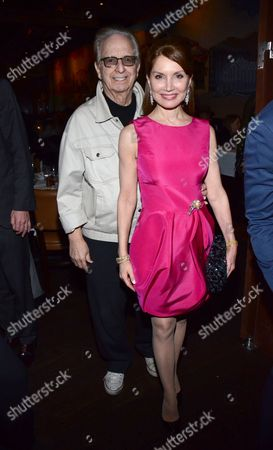 """Stock Image of Norby Walters and Jean Shafiroff pose at private LA dinner for """"Song One"""" screening hosted by Jean Shafiroff with director Kate Barker-Froyland and Anne Hathaway at The Palm Restaurant, in Beverly Hills, California"""