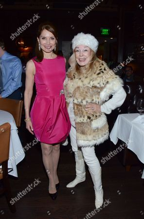 """Jean Shafiroff and Terry Moore pose at private LA dinner for """"Song One"""" screening hosted by Jean Shafiroff with director Kate Barker-Froyland and Anne Hathaway at The Palm Restaurant, in Beverly Hills, California"""