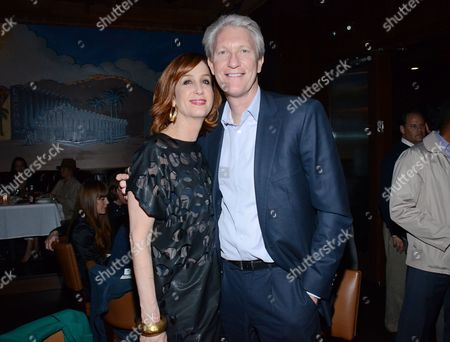 "Jamie McGurk and Chris McGurk pose at private LA dinner for ""Song One"" screening hosted by Jean Shafiroff with director Kate Barker-Froyland and Anne Hathaway at The Palm Restaurant, in Beverly Hills, California"