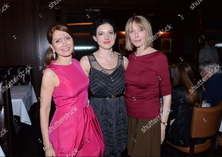 "Jean Shafiroff, Kate Barker-Froyland and Susan Blakely pose at private LA dinner for ""Song One"" screening hosted by Jean Shafiroff with director Kate Barker-Froyland and Anne Hathaway at The Palm Restaurant, in Beverly Hills, California"