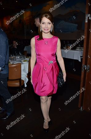 "Jean Shafiroff pose at private LA dinner for ""Song One"" screening hosted by Jean Shafiroff with director Kate Barker-Froyland and Anne Hathaway at The Palm Restaurant, in Beverly Hills, California"