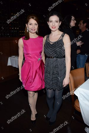 "Jean Shafiroff and Kate Barker-Froyland pose at private LA dinner for ""Song One"" screening hosted by Jean Shafiroff with director Kate Barker-Froyland and Anne Hathaway at The Palm Restaurant, in Beverly Hills, California"