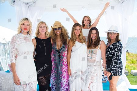 Kristen Taekman, from left, Vicki Gunvalson, Cynthia Bailey, Kelly Killoren Bensimon, Jill Zarin, Cindy Barshop, and Kathy Wakile attend Jill Zarin's 4th Annual Luxury Benefit Luncheon in Southampton, in New York