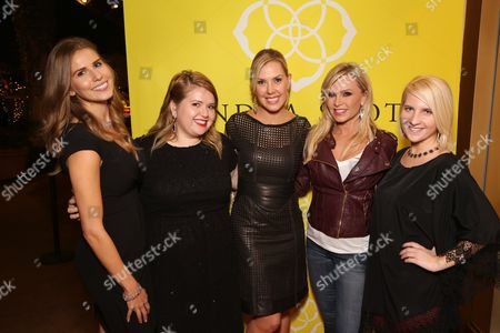 From left, Katie Katnik, Madison Owens Kendra Scott, Tamra Barney and Christina Vecchi pose during the Luxe Party at the Kendra Scott Fashion Island Boutique, in Newport Beach, Calif