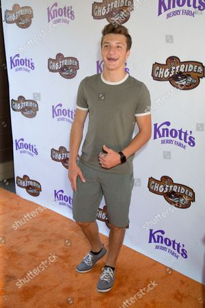 Jake Short arrives at the event to celebrate the return of the Ghostrider at Knott's Berry Farm, in Buena Park, Calif