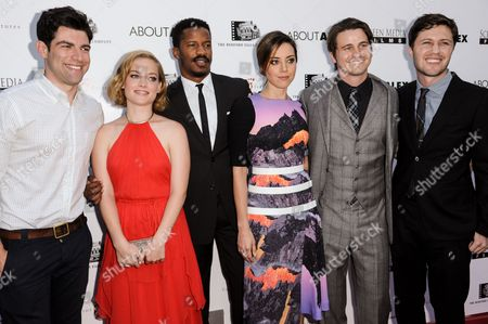 """Stock Image of From, Max Greenfield, Jane Levy, Nate Parker, Aubrey Plaza, Jason Ritter, and director Jesse Zwick arrive at the LA Premiere of """"About Alex"""" held at the ArcLight Hollywood, in Los Angeles"""