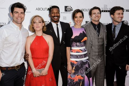 """Stock Picture of From, Max Greenfield, Jane Levy, Nate Parker, Aubrey Plaza, Jason Ritter, and director Jesse Zwick arrive at the LA Premiere of """"About Alex"""" held at the ArcLight Hollywood, in Los Angeles"""