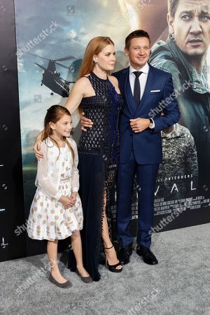 """Abigail Pniowsky, from left, Amy Adams and Jeremy Renner arrive at the LA Premiere of """"Arrival"""" at the Regency Village Theatre, in Los Angeles"""