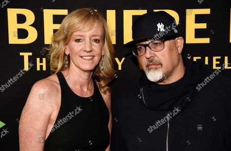 "Lillibet Foster, director/producer of ""Be Here Now (The Andy Whitfield Story),"" and producer Sam Maydew pose together at the premiere of the film at the UTA Theater, in Beverly Hills, Calif"