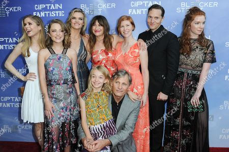 "Erin Moriarty, from left, Samantha Isler, Missi Pyle, Kathryn Hahn, Shree Crooks, Viggo Mortensen, Trin Miller, Matt Ross, and Annalise Basso attend the LA Premiere of ""Captain Fantastic"" held at Harmony Gold Theater, in Los Angeles, Calif"