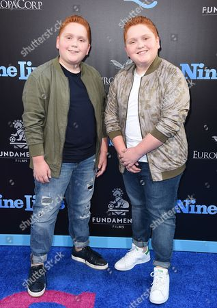 """Benjamin Royer and Matthew Royer arrive at the LA premiere of """"Nine Lives"""" at TCL Chinese Theatre, in Los Angeles"""