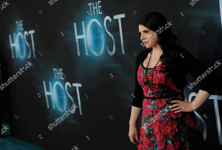 """Stephanie Meyer, producer of the film """"The Host,"""" as well as author of the novel upon which it is based, poses at the Los Angeles premiere of film at the ArcLight Hollywood on in Los Angeles"""