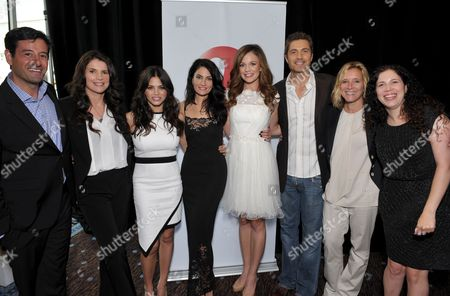 """EXCLUSIVE - From left, Executive Vice President, General Rob Sharenow, actors Julia Ormond, Jenna Dewan-Tatum, Madchen Amick, Rachel Boston, Eric Winter, SVP, Scripted Series Programming & Development, Lifetime Nina Lederman, and Maggie Friedman at Lifetime's TCA Panel """"Witches of East End"""" at the Beverly Hilton on July 26th, 2013 in Beverly Hills, Calif"""