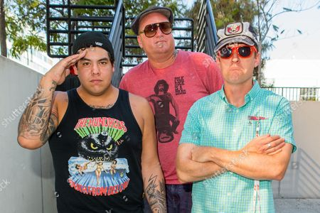 From left, Rome Ramirez, Eric Wilson, and Josh Freese of Sublime with Rome pose for a portrait backstage during the Made In America Festival at Grand Park, in Los Angeles, Calif