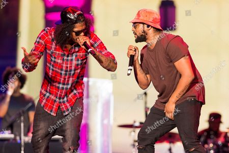Ab-Soul, left, and Schoolboy Q perform on stage during the Made In America Festival at Grand Park, in Los Angeles, Calif