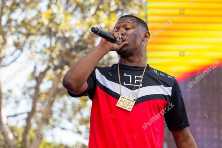 Hit Boy performs on stage during the Made In America Festival at Grand Park, in Los Angeles, Calif