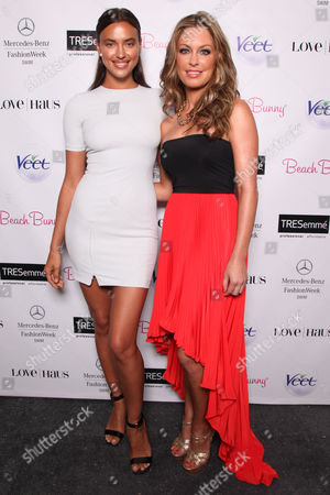Model Irina Shayk and designer Angela Chittenden backstage before the Beach Bunny Presented By Veet runway show on Day 2 of Mercedes-Benz Fashion Week Swim 2014 at The Raleigh Hotel on in Miami Beach, FL