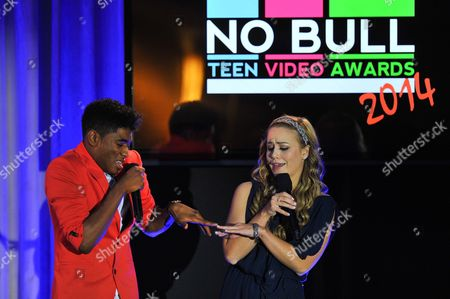 Show hosts Nadji Jeter (L) and Nicole Edgington are seen at the No Bull 2014 Teen Video Awards at The Westin Hotel on in Los Angeles, California