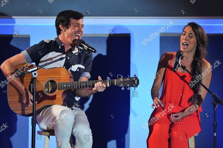 IMAGE DISTRIBUTED FOR NO BULL - Singers Alex Kinsey (L) and Sierra Deaton are seen at the No Bull 2014 Teen Video Awards at The Westin Hotel on in Los Angeles, California
