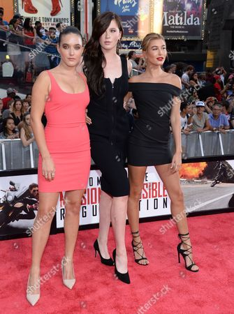 "Alaia Baldwin, left, Ireland Baldwin and Hailey Baldwin attend the premiere of ""Mission: Impossible - Rogue Nation"" in Times Square, in New York"