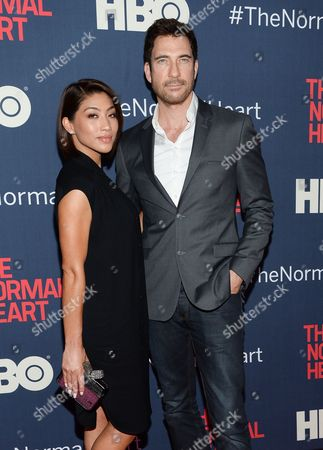 "Dylan McDermott and girlfriend Shasi Wells attend the premiere of HBO Films' ""The Normal Heart"" at the Ziegfeld Theatre, in New York"