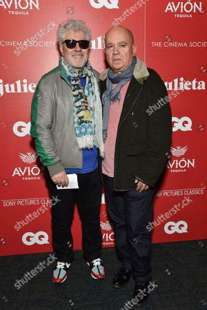 "Spanish filmmaker Pedro Almodovar, left, and his brother, producer Agustin Almodovar, attend a special screening of ""Julieta"", hosted by Sony Pictures Classics and The Cinema Society, at Landmark Sunshine Cinema, in New York"