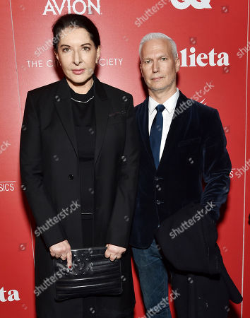 """Performance artist Marina Abramovic, left, and Klaus Biesenbach, chief curator at large at The Museum of Modern Art, attend a special screening of """"Julieta,"""" hosted by Sony Pictures Classics and The Cinema Society, at Landmark Sunshine Cinema, in New York"""