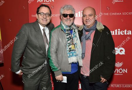"Sony Pictures Classics co-president Michael Barker, left, and Spanish filmmaker Pedro Almodovar and his brother, producer Agustin Almodovar, attend a special screening of ""Julieta"", hosted by Sony Pictures Classics and The Cinema Society, at Landmark Sunshine Cinema, in New York"