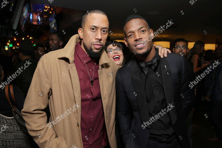Affion Crockett, Jenny Zigrino and Writer/Producer/Actor Marlon Wayans seen at Open Road Films Premiere of 'Fifty Shades of Black' at Regal L.A. Live, in Los Angeles, CA