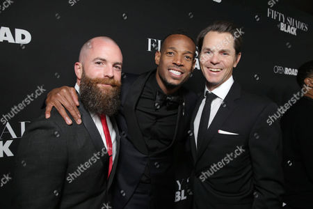Director/Producer Michael Tiddes, Writer/Producer/Actor Marlon Wayans and Jason Cassidy, Chief Marketing Officer of Open Road Films, seen at Open Road Films Premiere of 'Fifty Shades of Black' at Regal L.A. Live, in Los Angeles, CA