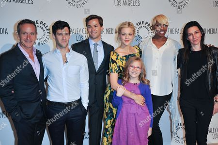 From left, Dante Di Loreto, Justin Bartha, Andrew Rannells, Georgia King, Bebe Wood, NeNe Leakes, Ali Adler attend the PaleyFest Fall TV Preview Party for NBC at The Paley Center for Media, in Beverly Hills, Calif