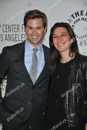 Andrew Rannells, left and Ali Adler attend the PaleyFest Fall TV Preview Party for NBC at The Paley Center for Media, in Beverly Hills, Calif
