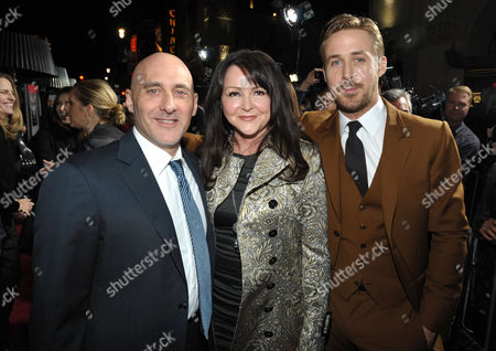 """Warner Bros.' Jeff Robinov, Donna Gosling and Ryan Gosling attend the LA premiere of """"Gangster Squad"""" at Grauman's Chinese Theater, in Los Angeles"""