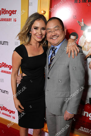 """Ashley Jones and Aaron Takahashi seen at at the Premiere of Screen Gems' """"The Wedding Ringer"""" sponsored by Mitchum at the TCL Chinese Theater, in Los Angeles"""