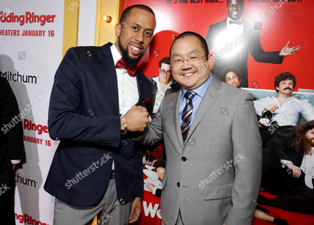 """Affion Crockett and Aaron Takahashi seen at at the Premiere of Screen Gems' """"The Wedding Ringer"""" sponsored by Mitchum at the TCL Chinese Theater, in Los Angeles"""