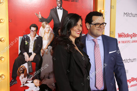 """Ida Darvish and Josh Gad seen at at the Premiere of Screen Gems' """"The Wedding Ringer"""" sponsored by Mitchum at the TCL Chinese Theater, in Los Angeles"""