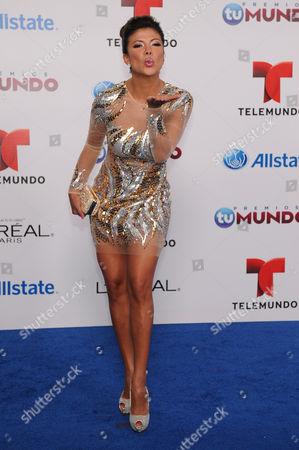 Stock Picture of Mirella Grisales attends Telemundo's Premios Tu Mundo Awards at American Airlines Arena on in Miami, Florida