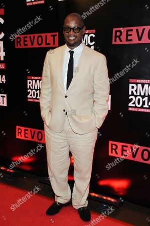 Andre Harrell arrives for the REVOLT Music Conference Gala Dinner at Fontainebleau Miami Beach, in Miami Beach, Fla