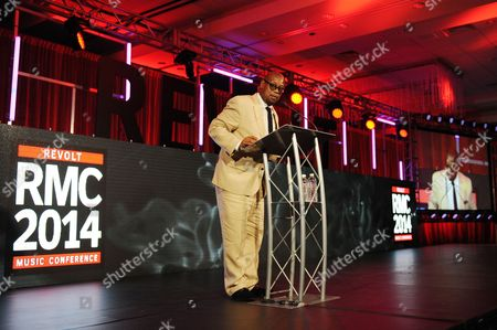 Andre Harrell appears during the REVOLT Music Conference Gala Dinner at Fontainebleau Miami Beach, in Miami Beach, Fla