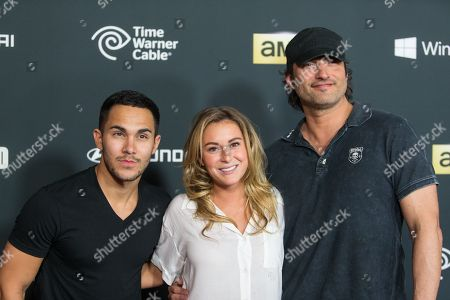 "From left, actors Carlos Pena, Jr., Alexa Vega and director Robert Rodriguez arrive at the season 4 premiere of ""The Walking Dead"" at the AMC Universal Citywalk Stadium 19/IMAX on in Universal City, Calif"